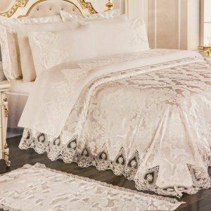 Луксозен Двоен Спален комплект от 100% Памучен сатен и Френска бродерия 160