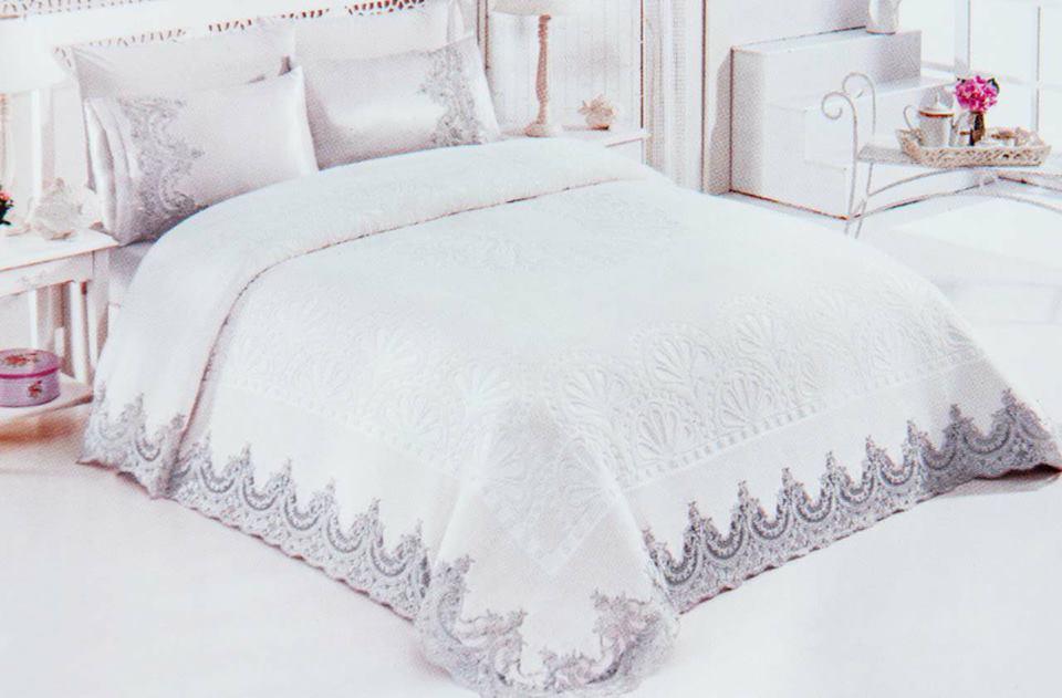 Луксозен Двоен Спален комплект от 100% Памучен сатен и Френска бродерия 188