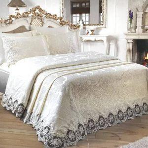 Луксозен Двоен Спален комплект от 100% Памучен сатен и Френска бродерия 248