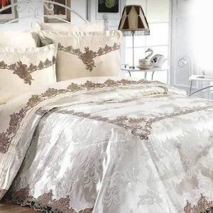 Луксозен Двоен Спален комплект от 100% Памучен сатен и Френска бродерия 250