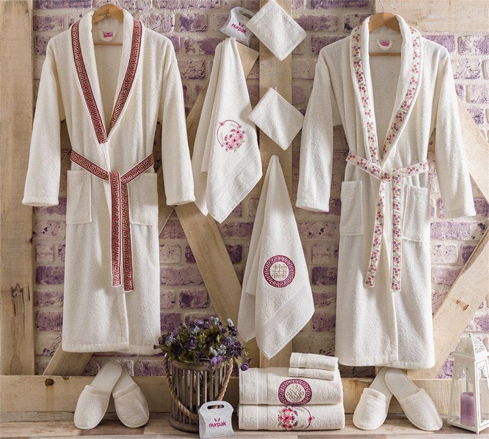 Луксозен семеен комплект за баня от 100% памук 219