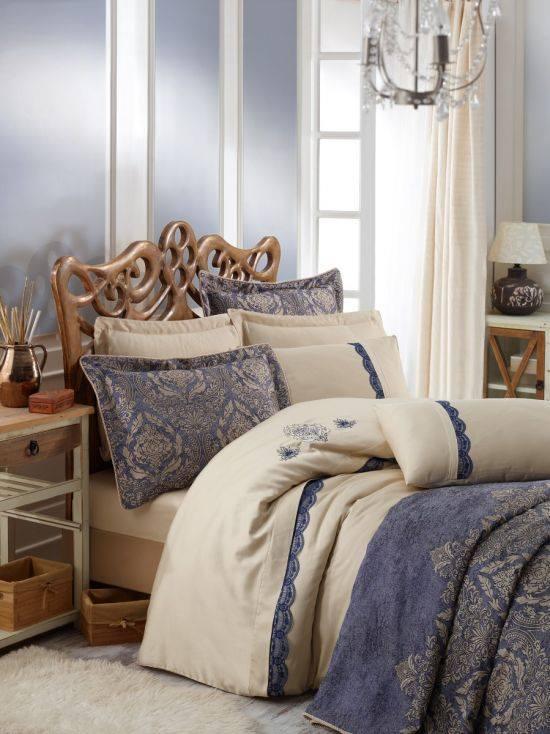Луксозен двоен спален комплект от памучен сатен 345