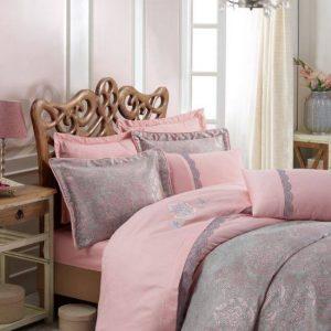 Луксозен двоен спален комплект от памучен сатен 347