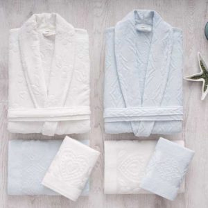Луксозен семеен комплект за баня от 100% памук 379